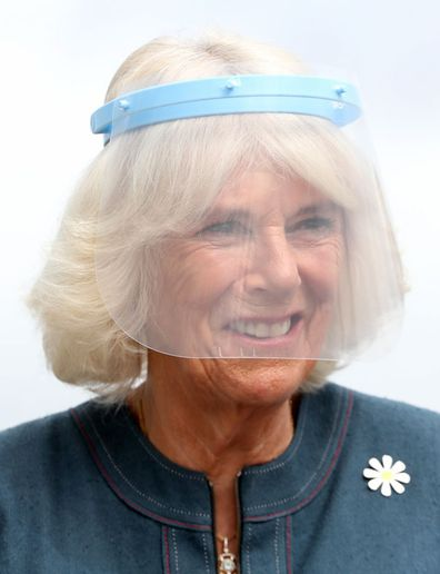 Camilla, Duchess of Cornwall, Patron of Medical Detection Dogs, wears a visor during a visit to the charity's training centre where trials are currently underway to determine whether dogs can act as a diagnostic tool of COVID-19 on September 09, 2020 in Milton Keynes, England