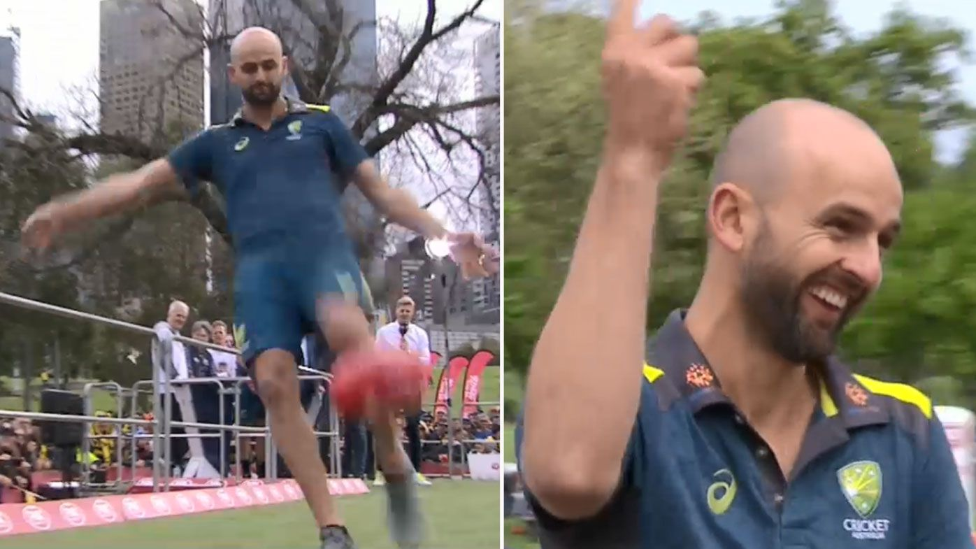 Test cricketer Nathan Lyon impresses with massive bomb in longest kick contest