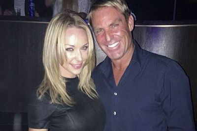 """Shane also got into the selfie action by posting this loved-up snap, captioned: """"Smashing Vegas with @emilyscottofficial and friends.""""<br/><br/>Image: @shanewarne23/Instagram"""