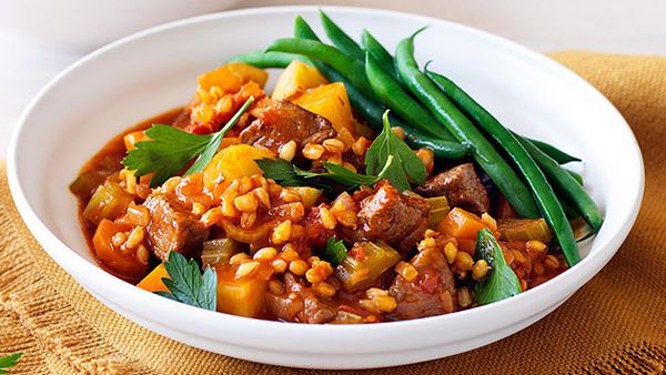 Weight Watchers' lamb, barley and rosemary stew