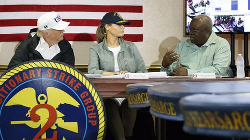 Mr Trump and his wife Melania meeting with Virgin Islands governor Kenneth Mapp. (AAP)