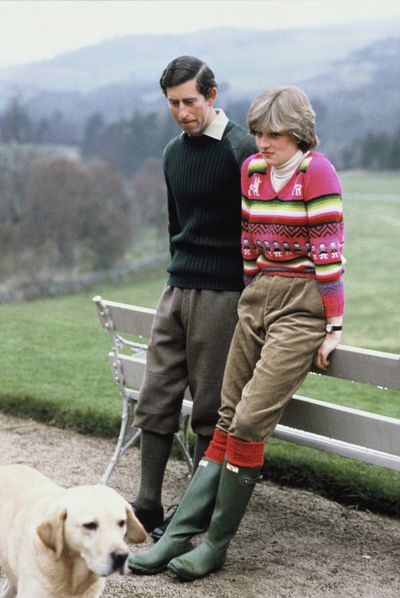 Lady Diana Spencer wearing an Inca jersey with then-fiancé Prince Charles at Balmoral in 1981.