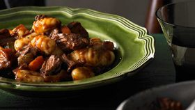Gnocchi with gravy beef in a red wine sauce