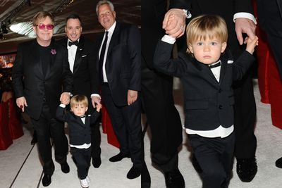 Nawww, Elton and David's two-year-old Zach is a hit at daddy Elton's party.