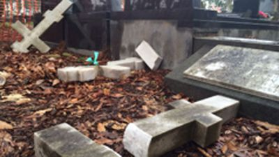 The cemetery is in Sydney's west and is on crown land. The AFUO has called on the state government to support the families of those whose graves were desecrated. (Picture: Mimi Becker, 9NEWS)