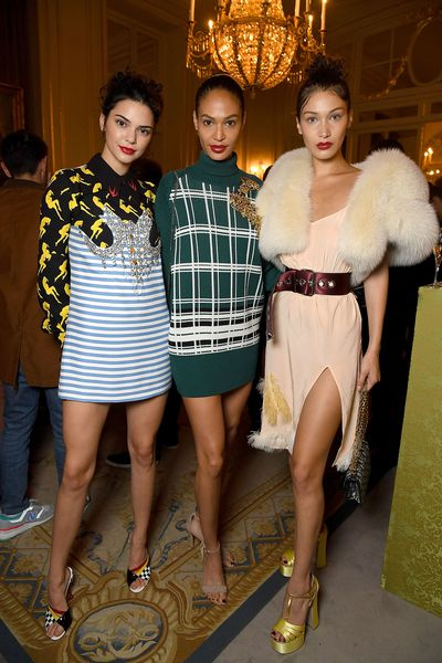 Kendall Jenner, Joan Smalls and Bella Hadid attend Miu Miu Cruise Collection show as part of Haute Couture Paris Fashion Week on July 2, 2017
