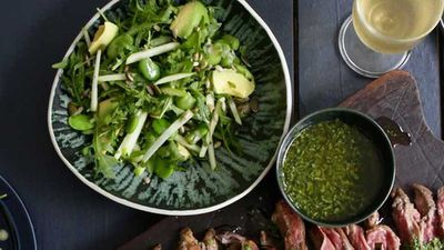 Jacqueline Alwill's green salad with broad beans, green apple and mint