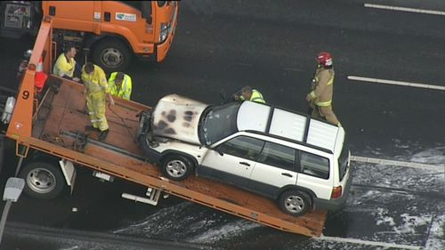 The car has since been towed away. (9NEWS)