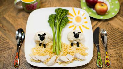 """Recipe: <a href=""""http://kitchen.nine.com.au/2017/09/22/10/47/farm-yard-meat-and-three-veg"""" target=""""_top"""">Farm yard meat and three veg (chicken pasta with vegetables)</a><br /> <br /> More: <a href=""""http://kitchen.nine.com.au/2016/06/07/02/36/kidfriendly-recipes"""" target=""""_top"""">Kid-friendly recipes</a>"""