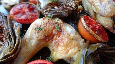 """Recipe:<a href=""""http://kitchen.nine.com.au/2016/06/06/12/42/roasted-chicken-with-blood-orange-and-artichokes"""" target=""""_top"""">Roasted chicken with blood orange and artichokes</a>"""