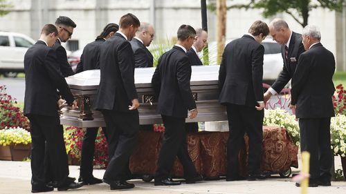 Pallbearers carry Bianca Devins' coffin into the Church of Our Lady of Lourdes in Utica, NY, on Friday, July 19, 2019.