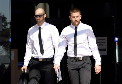 Josh Milani (left) and Sam Wallace leave the Southport courthouse in Southport on the Gold Coast.