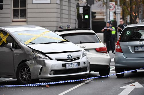 The scene of a Melbourne CBD accident where an Uber crashed into pedestrians. Picture: James Ross