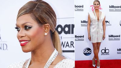 Orange Is The New Black star Laverne Cox in a white mini dress. (AAP)