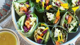 Chicken satay rice paper rolls