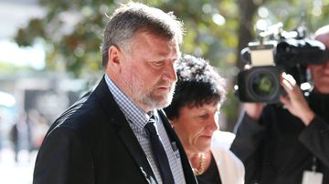 Greg and Virginia Hughes, the parents of cricketer Phillip Hughes, leave the Downing Centre Court in Sydney. (AAP)