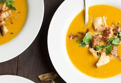 "Recipe: <a href=""http://kitchen.nine.com.au/2016/05/05/14/19/korma-and-butternut-soup-with-crispy-bacon-and-sesame-naan-croutons"" target=""_top"">Korma and butternut soup with crispy bacon and sesame naan croutons</a>"