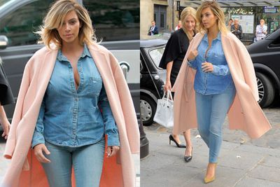 Proving that matchy-matchy is tres chic, Kim rocks double denim like a pro. <br/><br/>Source: Splash