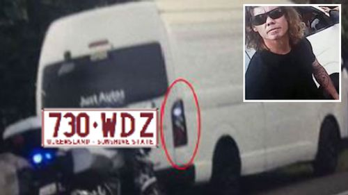 Keven De Vroom (inset) and the van he was driving when he was pulled over. (Images: Supplied)