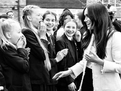 The Duchess of Sussex visits Robert Clack Upper School in Dagenham on March 6 for International Women's Day.