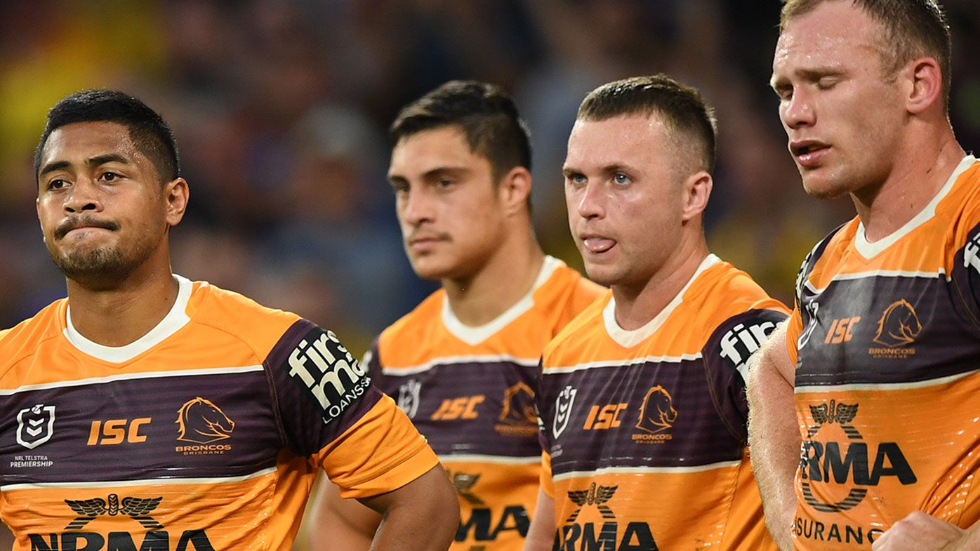 Brisbane players look on during their 58-0 thrashing at the hands of Parramatta.
