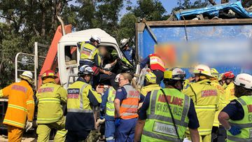 Dozens of emergency service workers combined to free the man from the wreck.