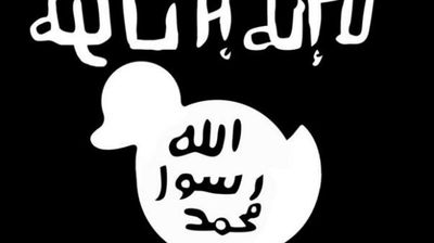 ISIL's flag also became a target, being modified to include a white outline of a duck.