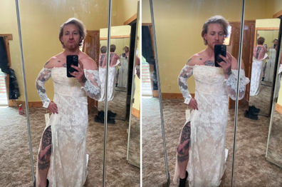Muscle-bound veteran models ex-wife's wedding dress in hilarious sales attempt