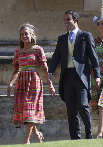 Photo of actress and model <strong>Cressida Bonas</strong> walking to St George's cathedral