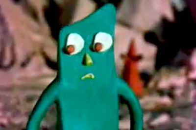 Remember how the 1980s Gumby cartoons were sometimes interspersed with a creepy, old-fashioned Gumby with beady red eyes? That's how he originally looked when he premiered in the 1950s — how such a disturbingly off-putting character drew a following is a mystery.