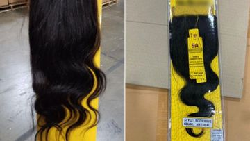 The weaves were labelled '100% human hair'.