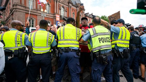 """Today's gathering is being led by the principal organiser of last year's """"Unite the Right"""" event, Jason Kessler, who calls the demonstration a rally for white civil rights."""