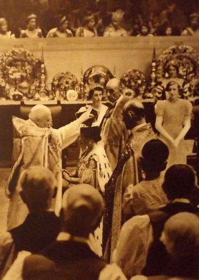 Queen Elizabeth at the coronation of King George VI