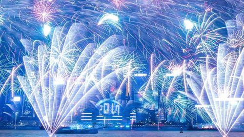 The spectacular fireworks display in Hong Kong.