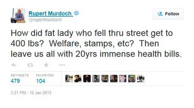 "<p>But it's not all serious news in Murdoch's Twitter feed. For instance, he commented on a viral fluff story about a 180-kilogram woman who fell through a road. The culprit? Welfare and food stamps, he posited.</p> <p>""Then she leaves us with 20yrs immense health bill,"" he added, charitably deciding not to factor in the cost of road repairs.</p>"