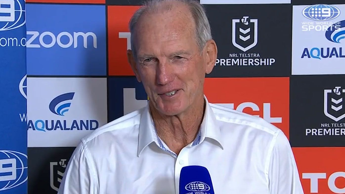 Wayne Bennett shares a story about Tommy Raudonikis. (nine)