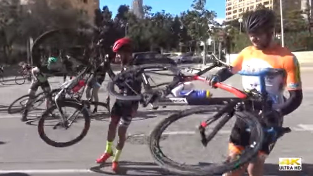 Cyclists blown away by hurricane winds