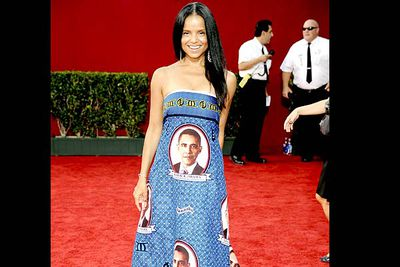 <b>Where she wore it:</b> The 61st Annual Primetime Emmy Awards, 2009.<br/><br/><b>The look:</b> Worn by soap star Victoria, this dress might have been appropriate in 2008 — at least that was the actual year of a US presidential election. In 2009, it wasn't only tacky, it was <i>dated.</i>