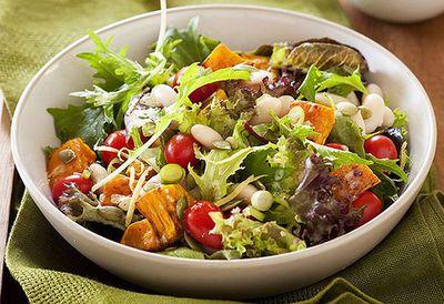 "Recipe:&nbsp;<a href=""http://kitchen.nine.com.au/2016/05/05/15/00/pumpkin-lentil-and-white-bean-salad"" target=""_top"" draggable=""false"">Pumpkin, lentil and white bean salad</a>"