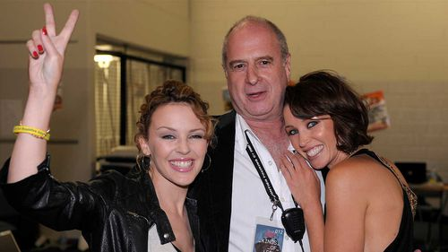 Michael Gudinski with Kylie and Danni Minogue.