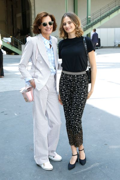 Former Chanel muse Ines de la Fressange and her daughter Violette d'Urso at the Chanel haute couture show in Paris.