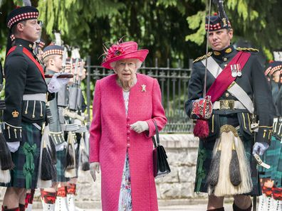 Queen Elizabeth during an inspection of the Balaklava Company, 5 Battalion The Royal Regiment of Scotland at the gates at Balmoral.