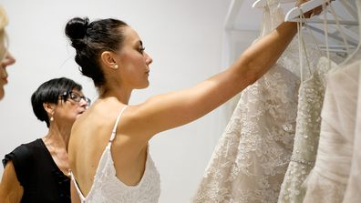 This bride likes lace.