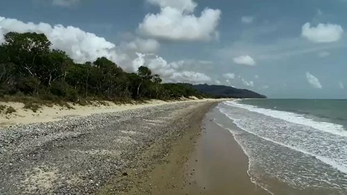 The beach is about 40km north of Cairns.