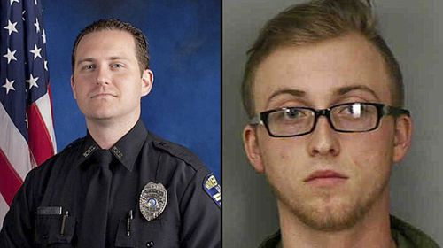 Police officer Robert German (left) was murdered allegedly by Brandon Goode, 18, (right) in a suspected murder-suicide. (Supplied)