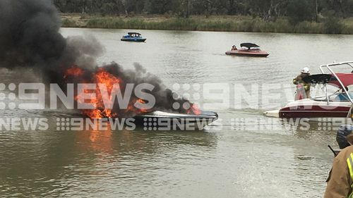 The boat burst into flames on the River Murray today. (Supplied)