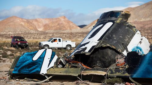 The wreckage of SpaceShipTwo in the Mojave Desert. (AAP)