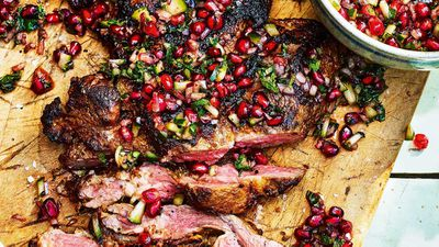 "Recipe: <a href=""http://kitchen.nine.com.au/2017/10/05/15/28/butterflied-leg-of-lamb-with-pomegranate-salsa"" target=""_top"" draggable=""false"">Butterflied leg of lamb with pomegranate salsa (45 minutes)</a>"