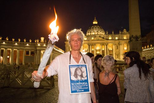 Pietro Orlandi, brother of Emanuela Orlandi, at St. Peter's Square Sit-in and torchlight procession in Rome, Italy on June 22, 2018.
