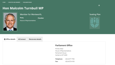 Australian Federal MP biographies disappear